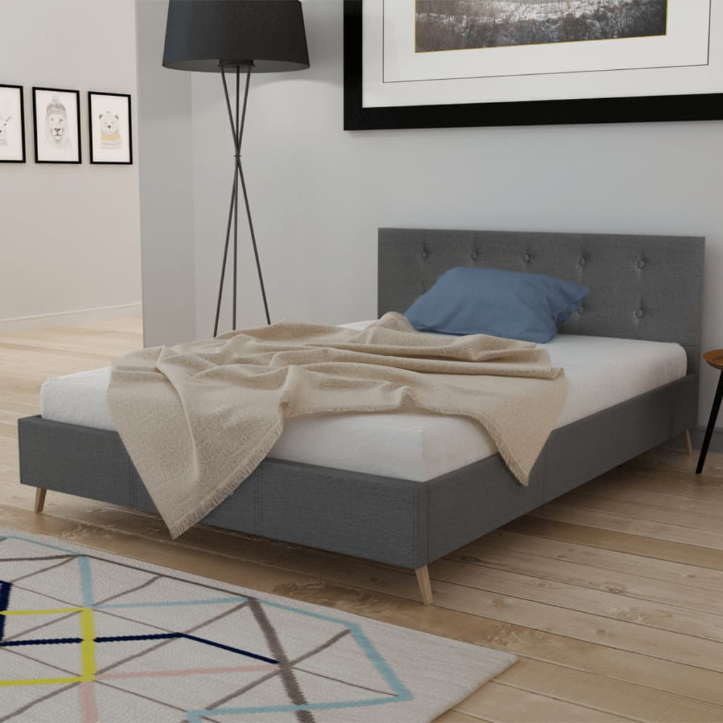 vidaXL-Bed-and-Memory-Foam-Mattress-Dark-Grey-Bedroom-Double-Queen-King-Sizes