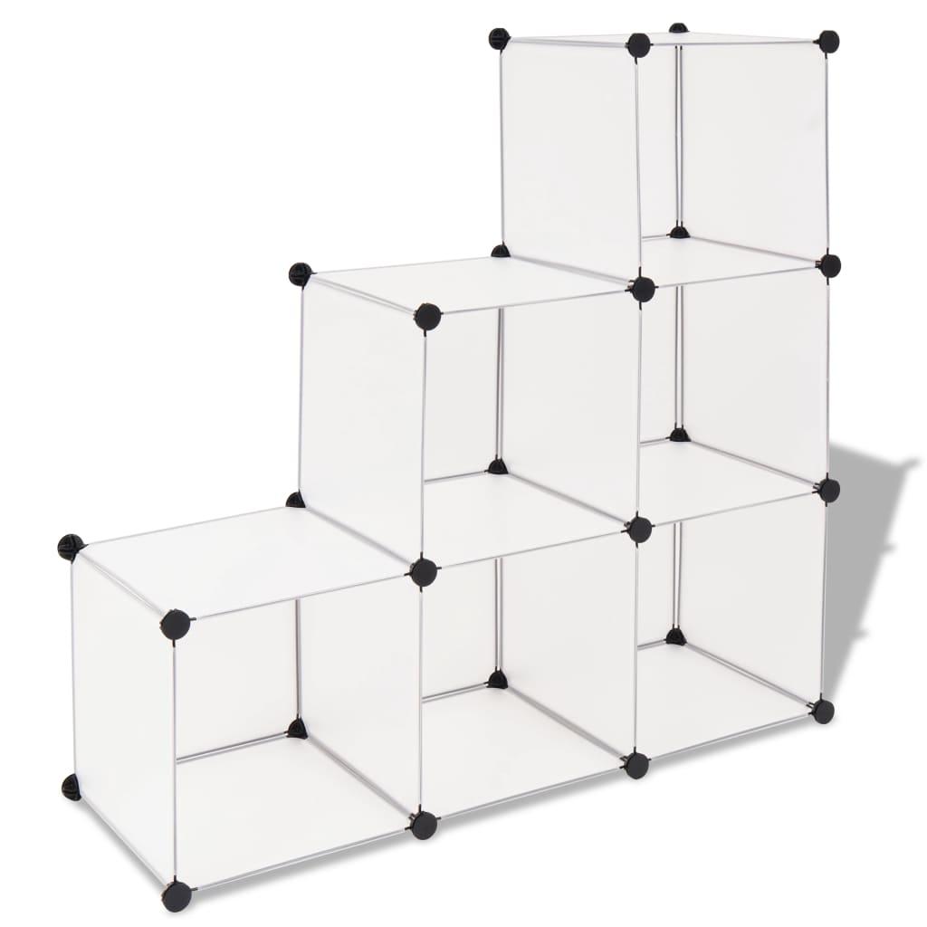 vidaXL fehér kocka alakú tároló 6 tárolórekesszel