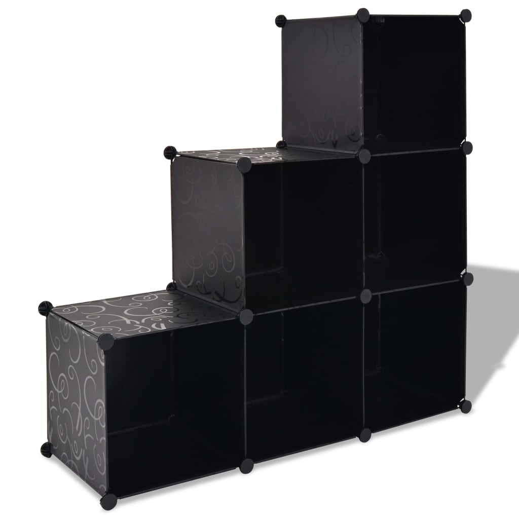 vidaXL fekete kocka alakú tároló 6 tárolórekesszel