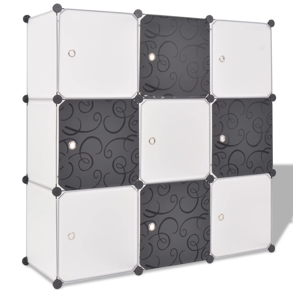 vidaXL fekete és fehér kocka alakú tároló 9 tárolórekesszel