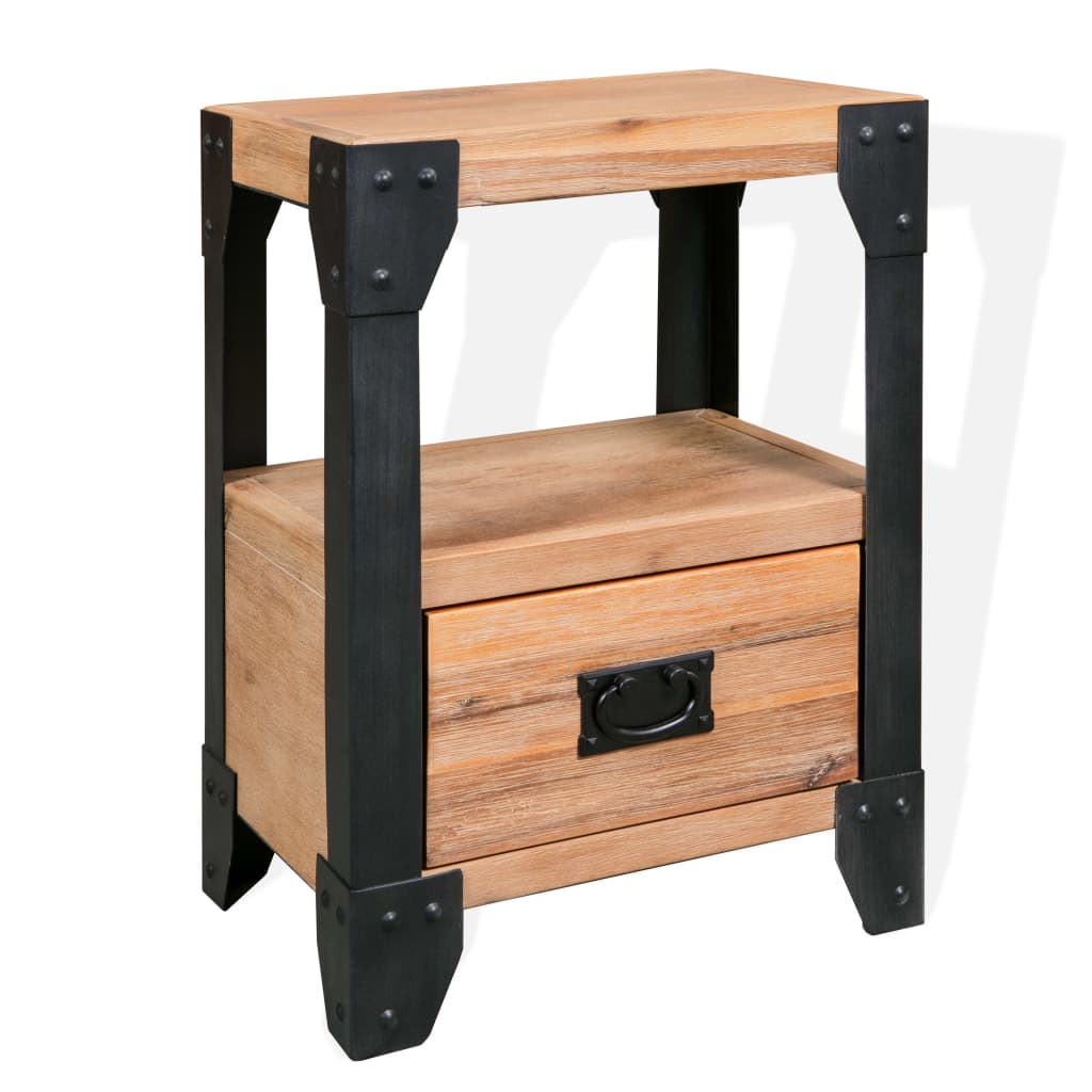 vidaXL Szafka nocna, lite drewno akacjowe, stal, 40 x 30 54 cm