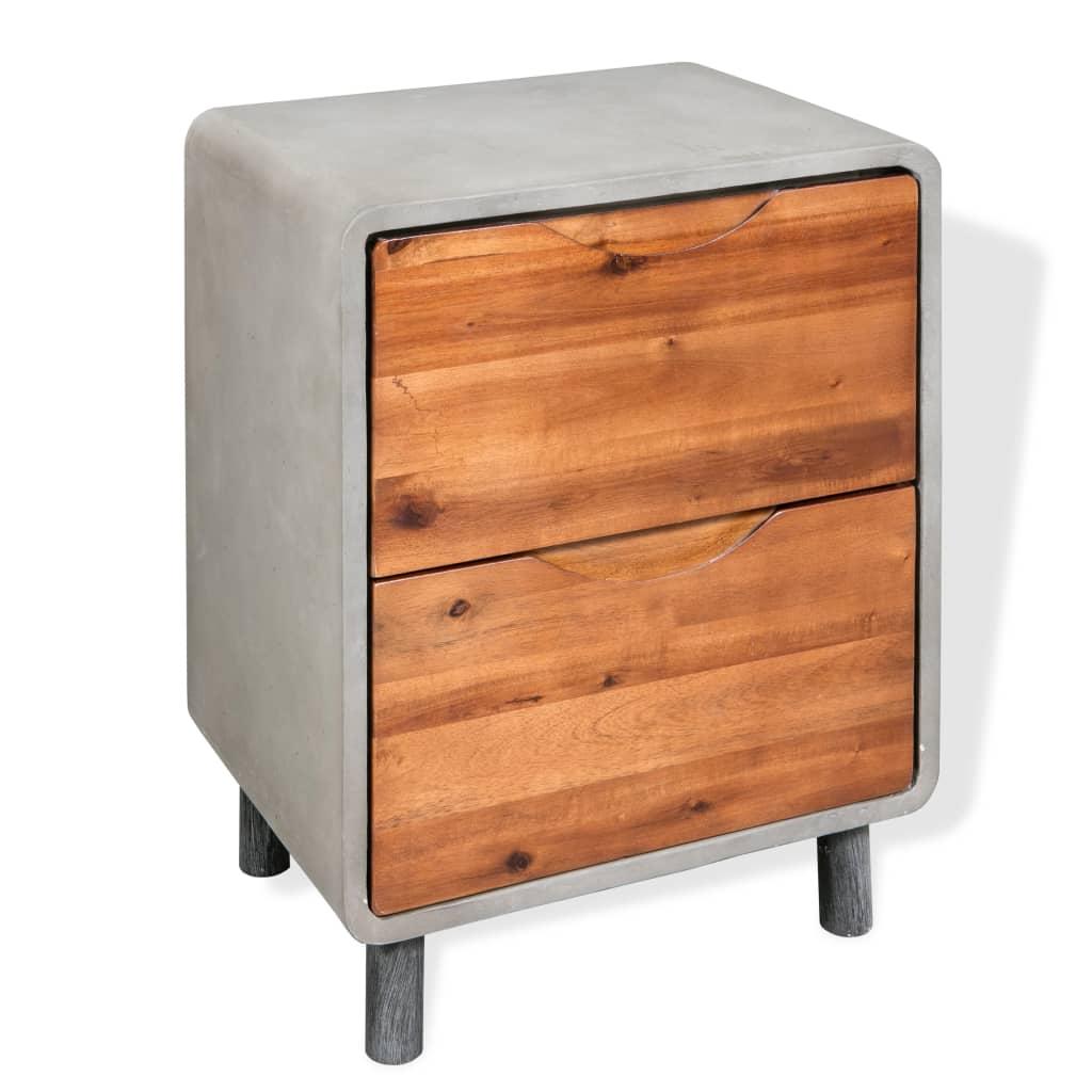 vidaXL Szafka nocna, beton i lite drewno akacjowe, 40 x 30 50 cm