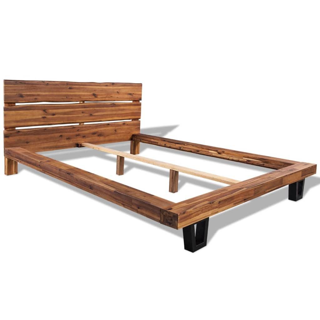 vidaxl massivholz bettgestell akazie bettrahmen bett doppelbett 140 180x200 cm ebay. Black Bedroom Furniture Sets. Home Design Ideas