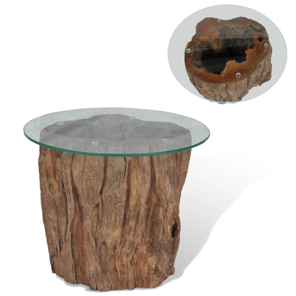 vidaXL Stolik kawowy, drewno tekowe i szkło, 50 x 40 cm