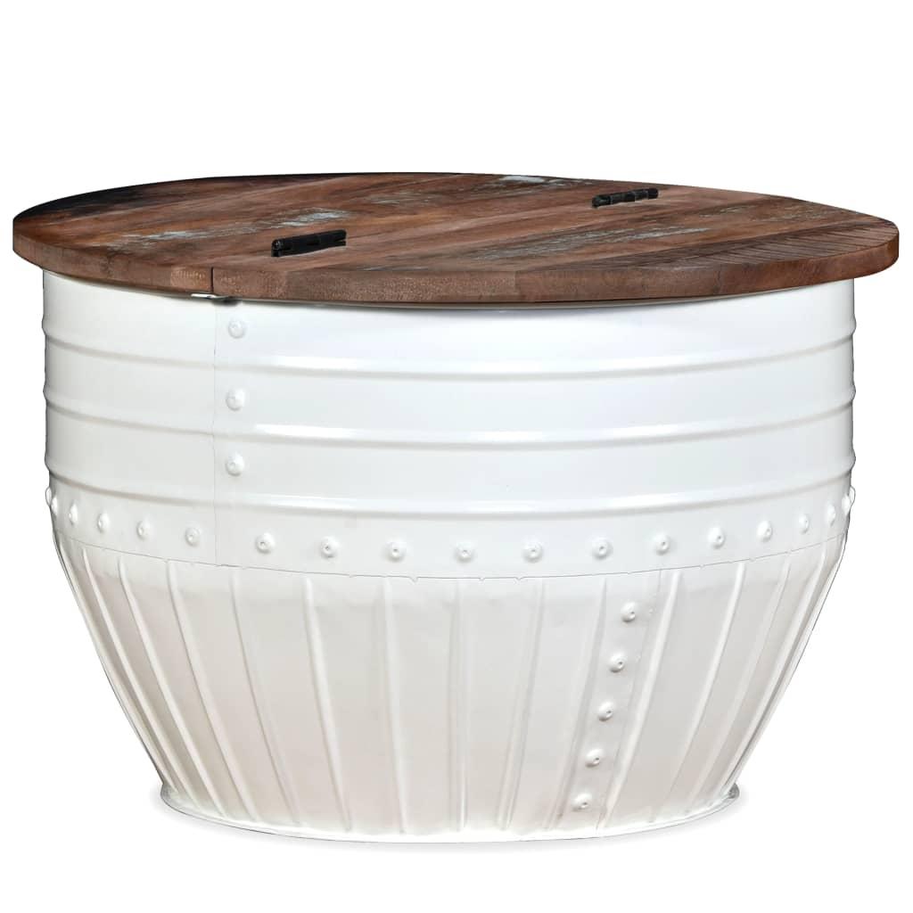 vidaXL fehér, hordó alakú újrahasznosított fa dohányzóasztal