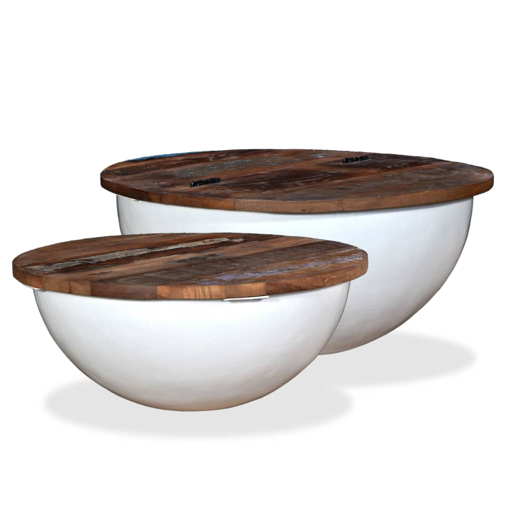 vidaXL Stoliki kawowe, 2 szt., drewno z odzysku, białe, kształt misy