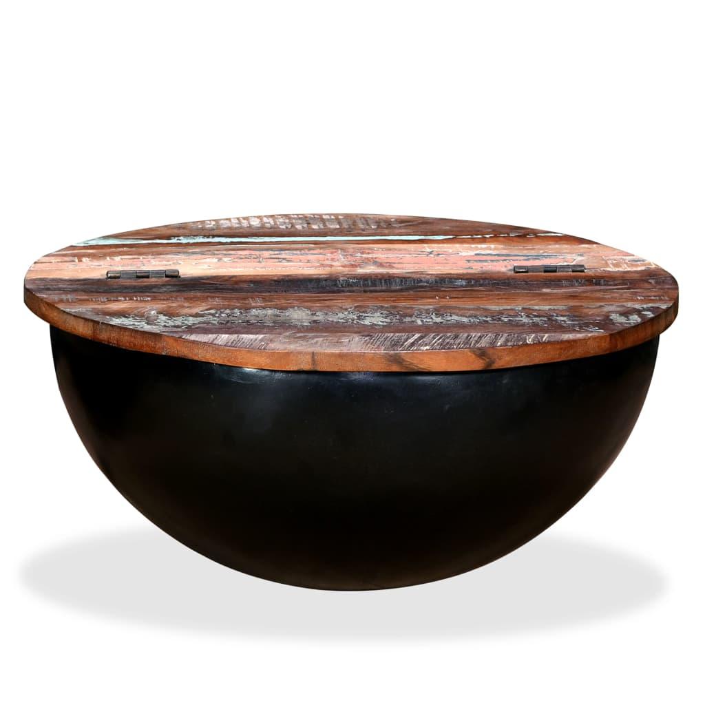 vidaXL fekete, tál alakú újrahasznosított fa dohányzóasztal