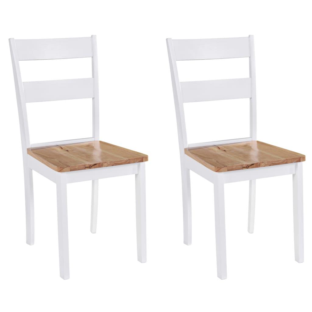 vidaXL Krzesła do jadalni, 2 szt., drewno kauczukowca, białe
