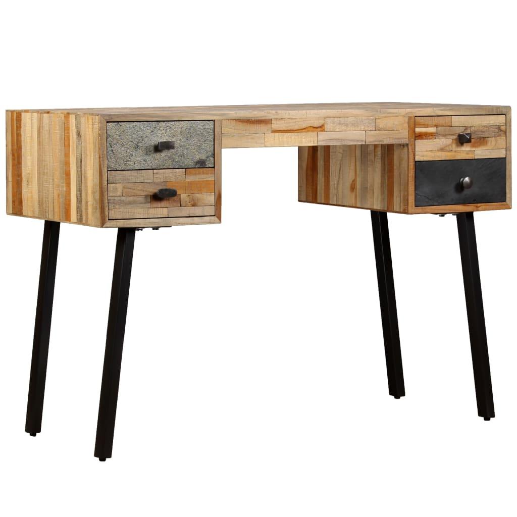 vidaXL Biurko, lite drewno tekowe z odzysku, 110 x 50 76 cm
