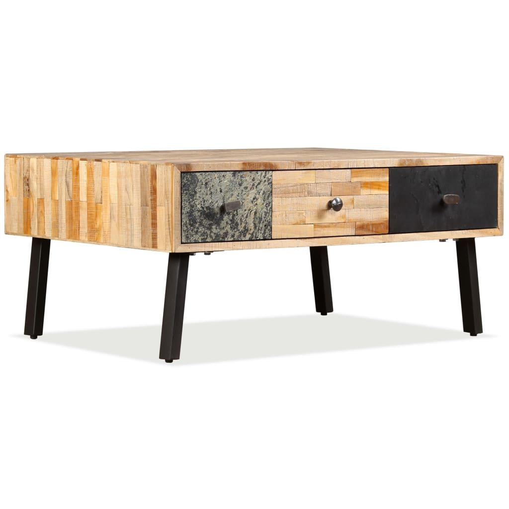 vidaXL Stolik kawowy, drewno tekowe z odzysku, 90 x 65 40 cm