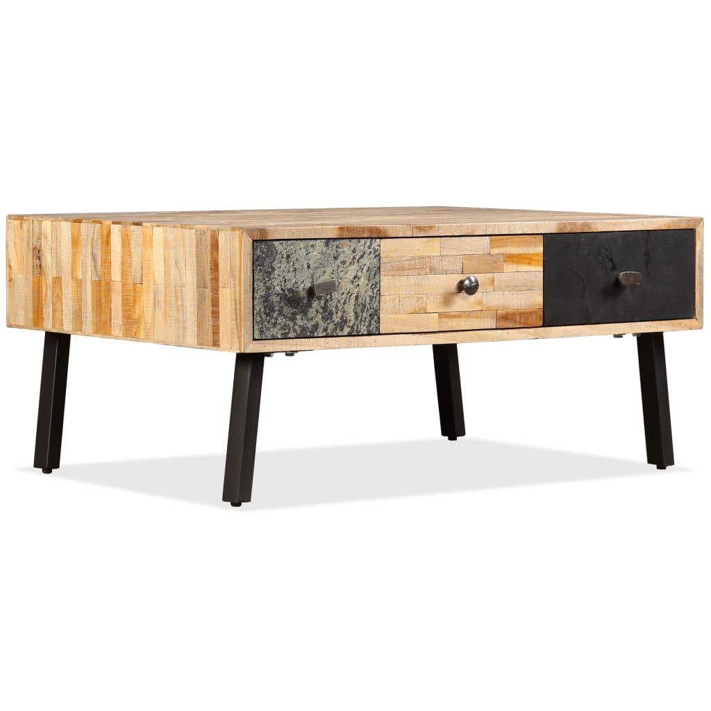 vidaXL tömör újrahasznosított tíkfa dohányzóasztal 90 x 65 40 cm