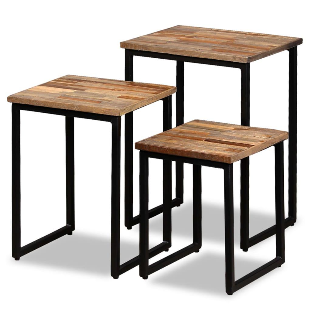 vidaXL 3 részes tömör újrahasznosított tíkfa, egymásba tolható asztal