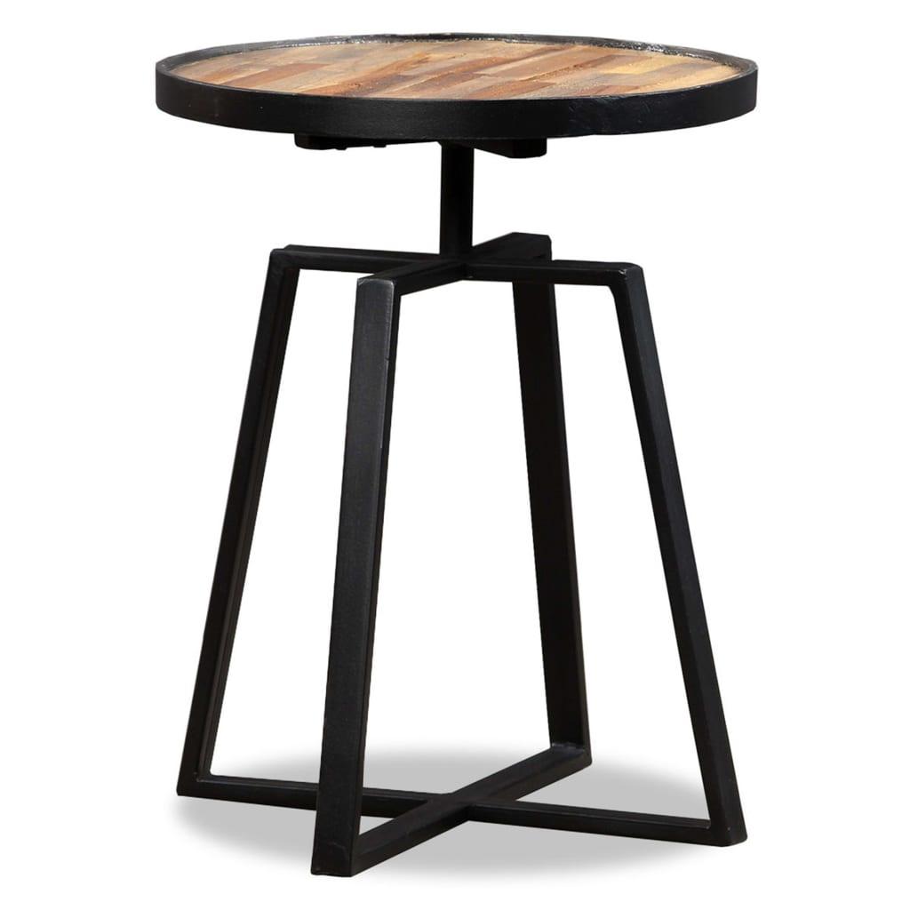 vidaXL kör alakú, újrahasznosított tömör tíkfa kisasztal