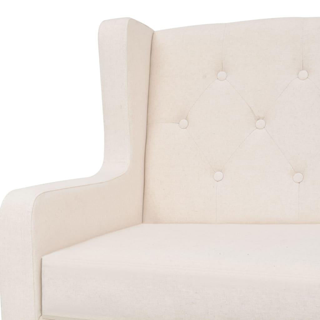 vidaXL Fauteuil Tissu Blanc Crème Canapé Mobilier Mobilier Mobilier Meuble de Salon Séjour Bureau 96882f