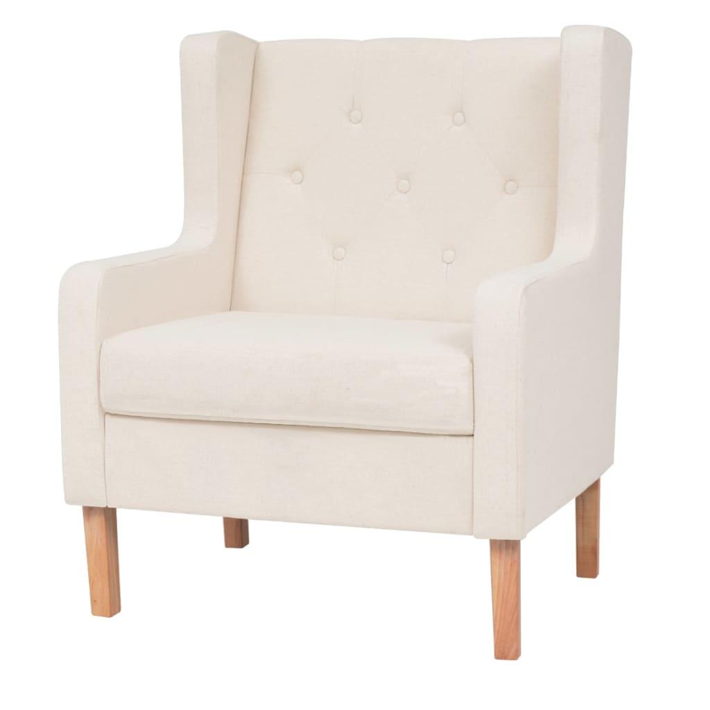 vidaXL Fotel, materiałowy, kremowy