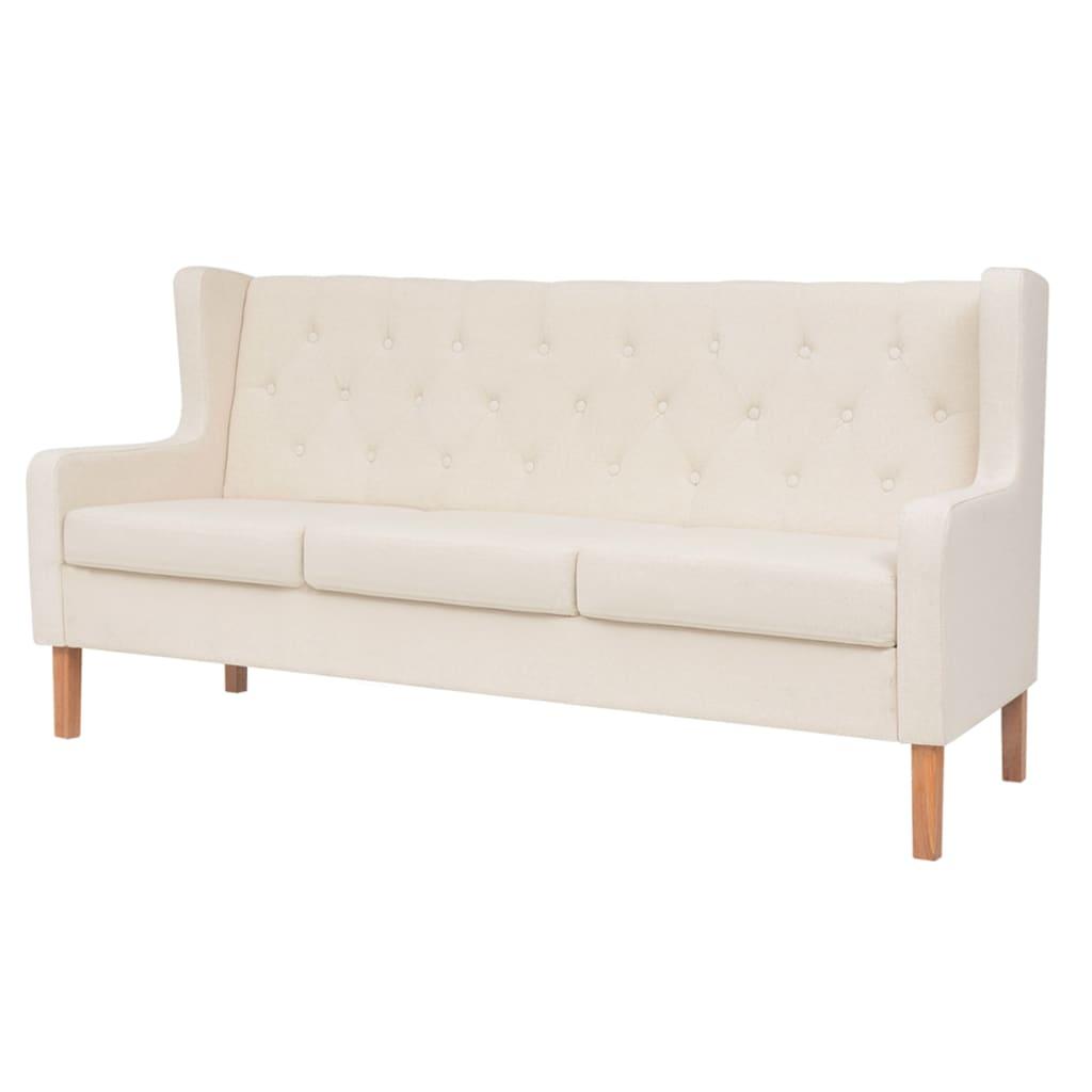 vidaXL Sofa 3-osobowa, materiałowa, kremowa