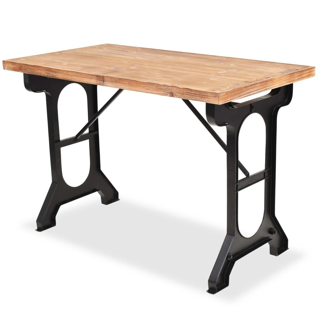 vidaXL Stół jadalniany, blat z litego drewna jodłowego, 122x65x82 cm