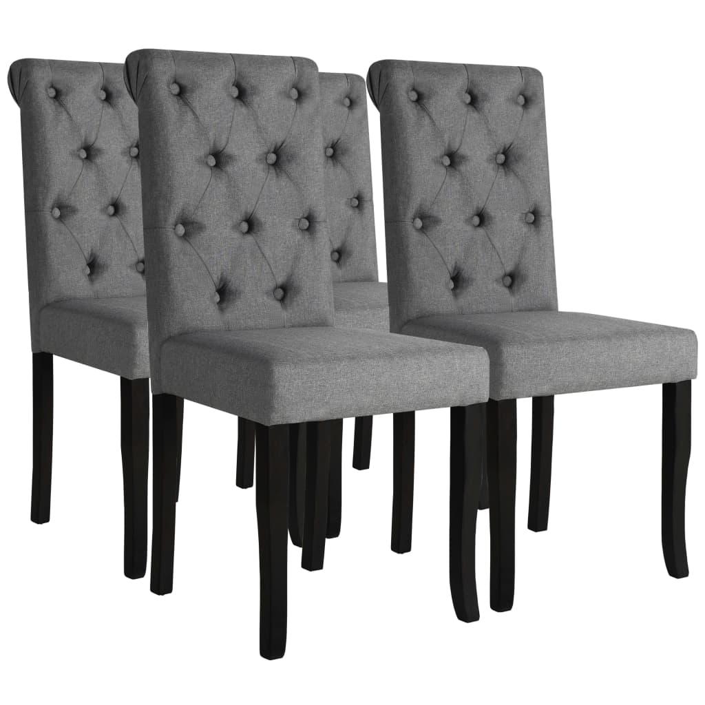 vidaXL Krzesła do jadalni, 4 szt., drewno i ciemnoszara tkanina