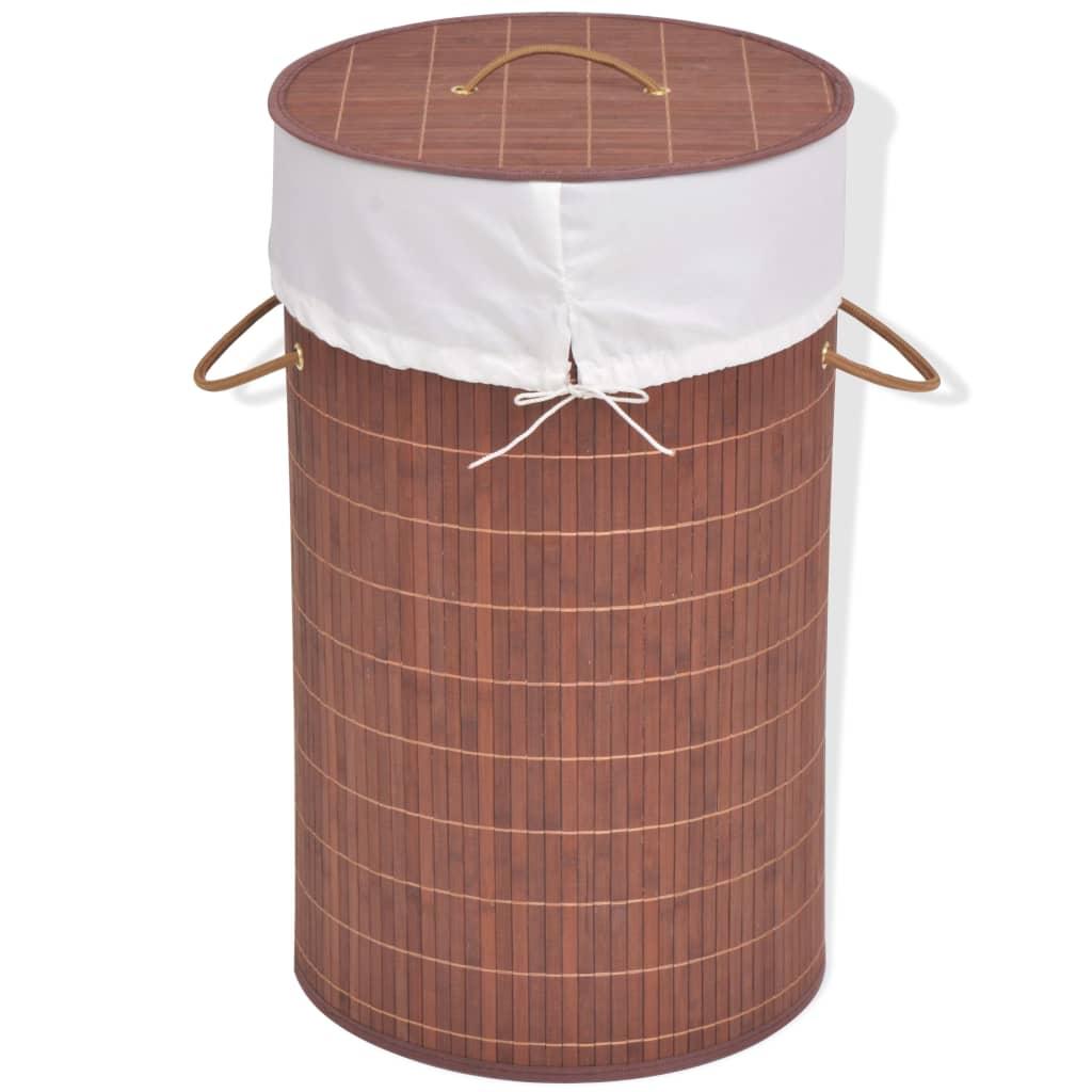 vidaXL barna kerek bambusz szennyestartó kosár
