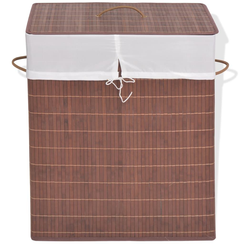 vidaXL barna négyszög alakú bambusz szennyestartó kosár
