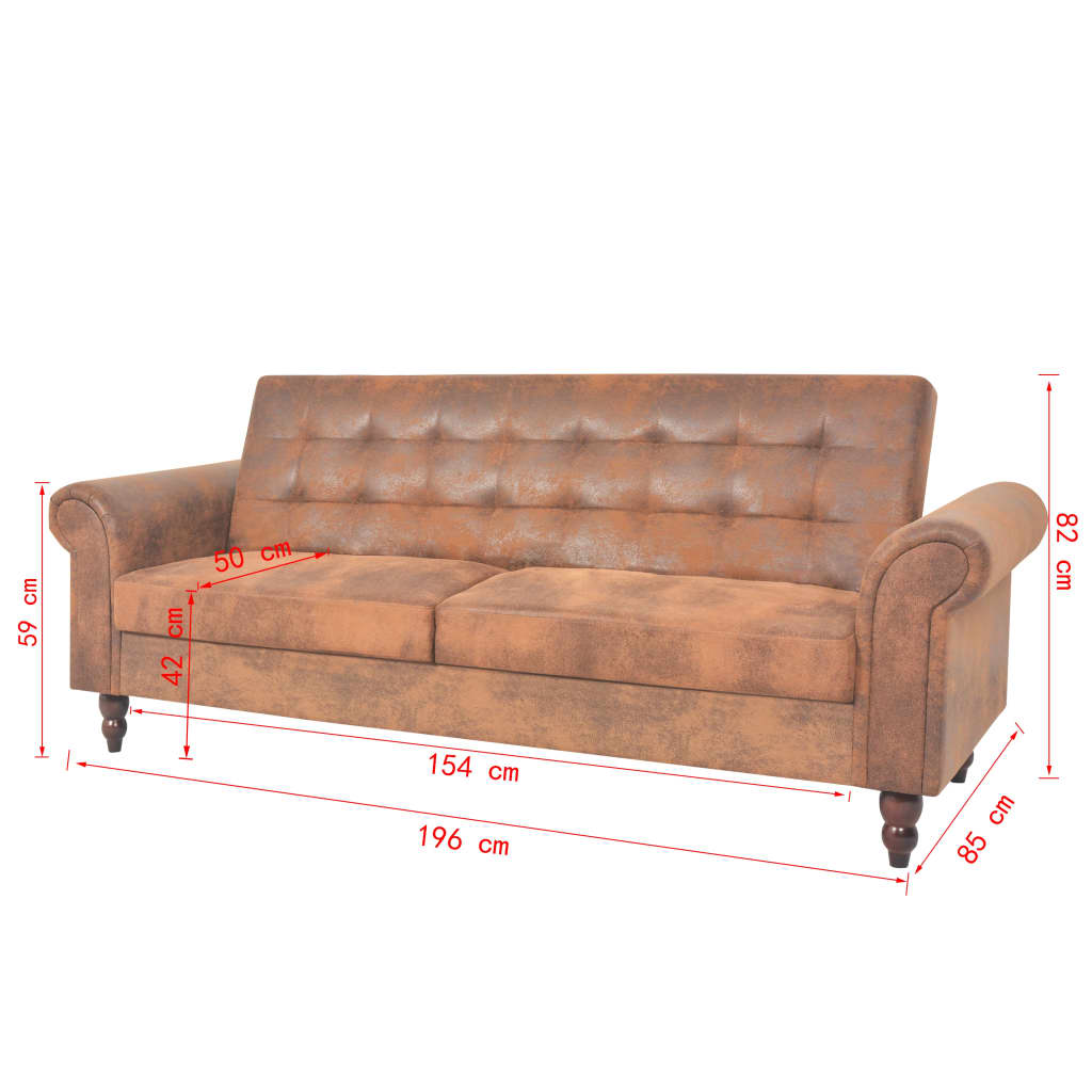 vidaxl schlafsofa armlehnen kunstleder braun sofa bettsofa couch schlafcouch ebay. Black Bedroom Furniture Sets. Home Design Ideas