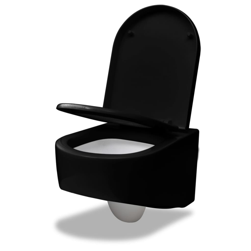 wand h nge wc toilette design mit softclose sitz schwarz. Black Bedroom Furniture Sets. Home Design Ideas