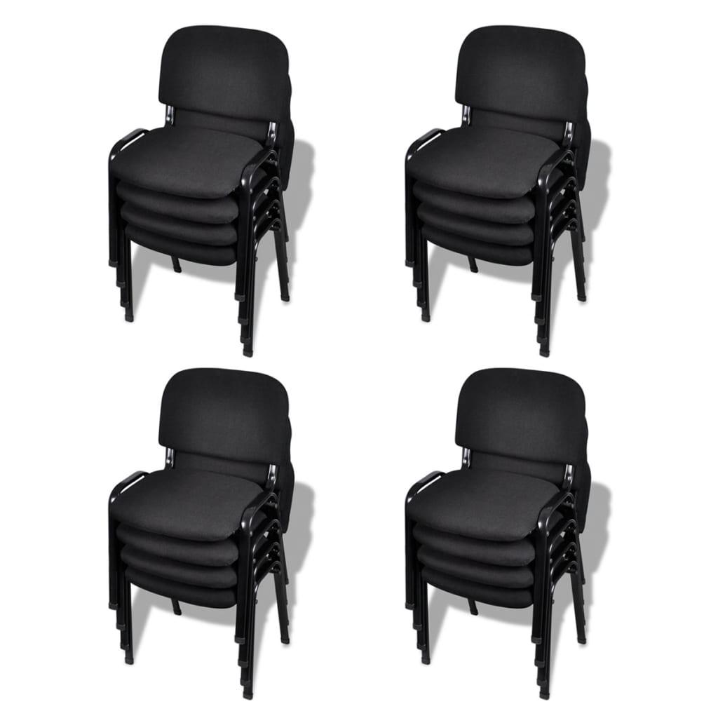 Kontorsstol stapelbar 16-pack svart