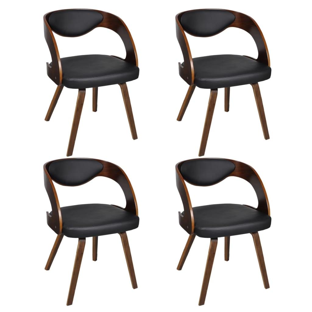vidaXL Krzesła do jadalni, 4 szt., drewniana rama, brązowe