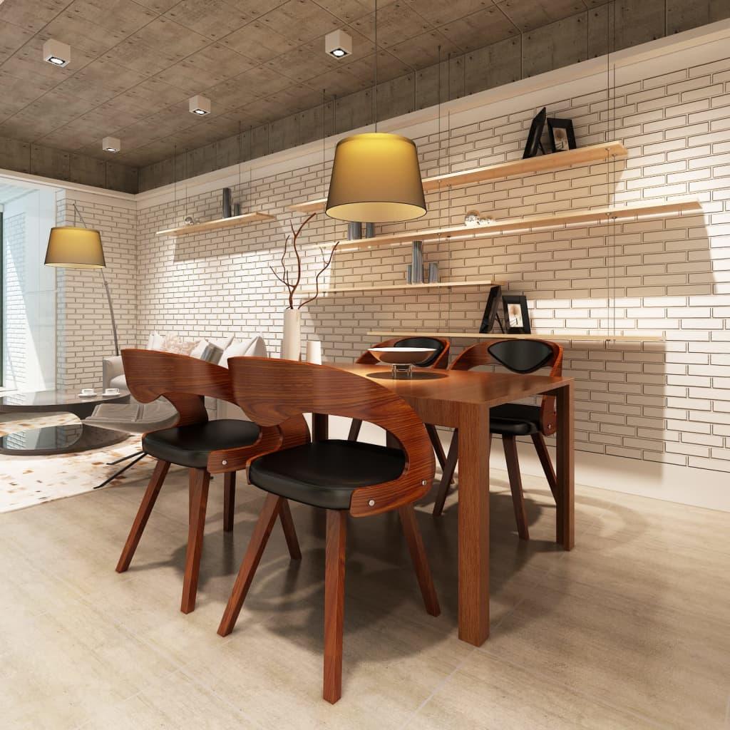 Chaises accoudoirs salle manger ergonomique en cuir bois robuste brun ebay - Chaises en cuir pour salle a manger ...