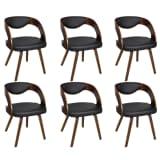 6 x Ledermixstühle Stuhl Stühle Sessel Esszimmerstühle Sperrholz braun
