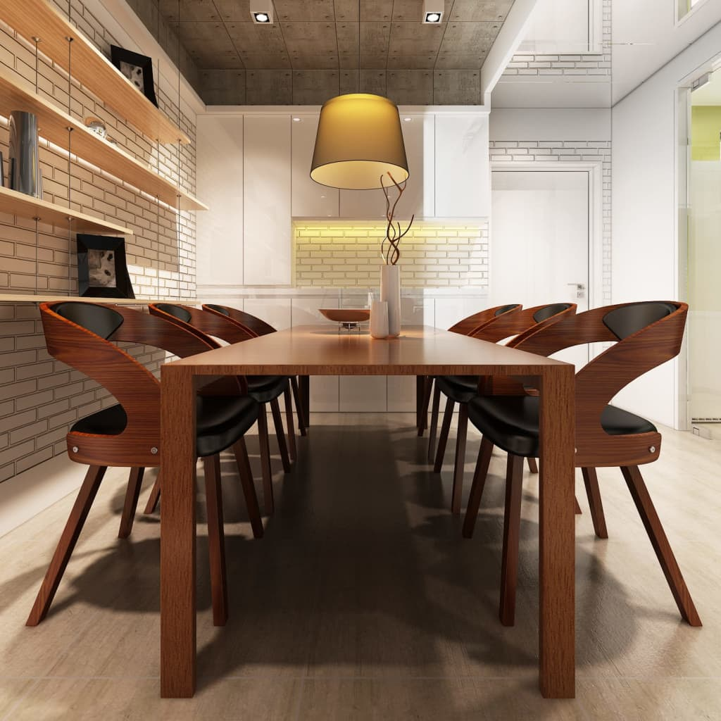 Chaises accoudoirs salle manger ergonomique en cuir bois robuste brun ebay - Chaise en cuir a vendre ...