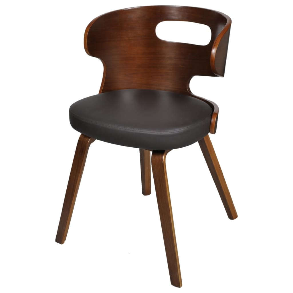 Set Of 6 Dining Chairs Wooden Frame Brown Cut Out Bent