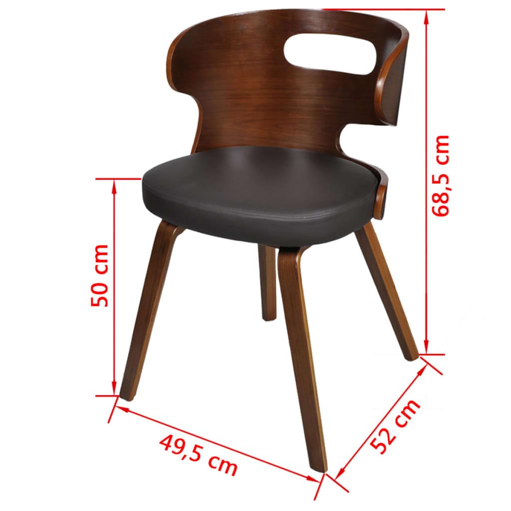 ... 6xLedermixstühle Sessel Esszimmerstühle Sperrholz Stuhl Stühle Braun[6/6 ]