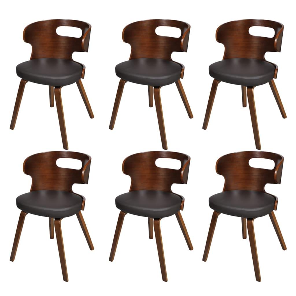 La boutique en ligne lot de 6 chaises de salle manger en cuir m lang brun - Lot de 6 chaises de salle a manger ...