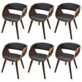 Krzesła jadalniane, drewniana rama, brąz, skóra (x6)