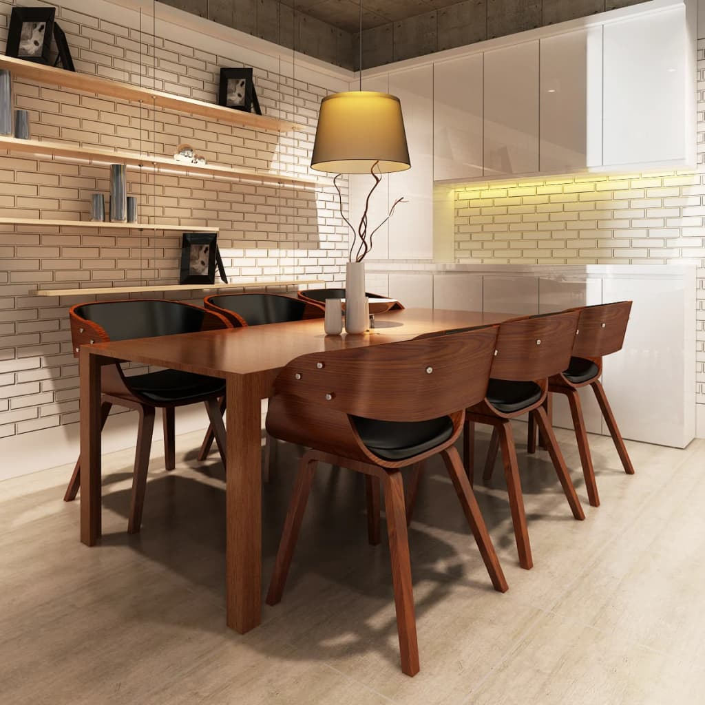 Vidaxl eetkamerstoelen set shanghai bruin 6 stuks vidaxl for Tweedehands eetkamerstoelen