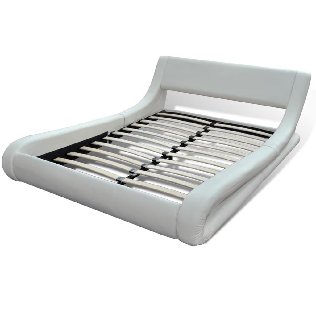 der kunstlederbett bett lattenrost matratze 180x200 wei online shop. Black Bedroom Furniture Sets. Home Design Ideas