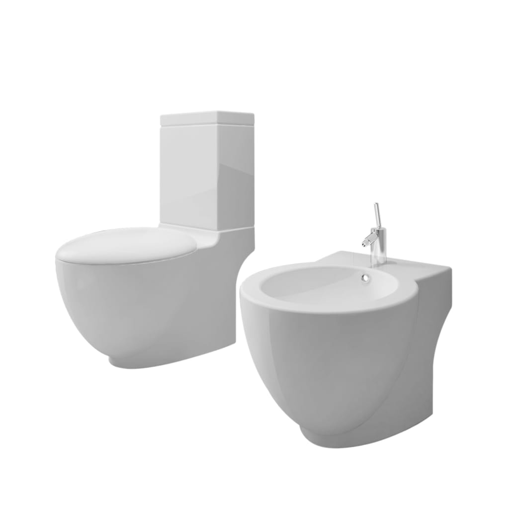 Stand Toilet & Bidet Set White Ceramic