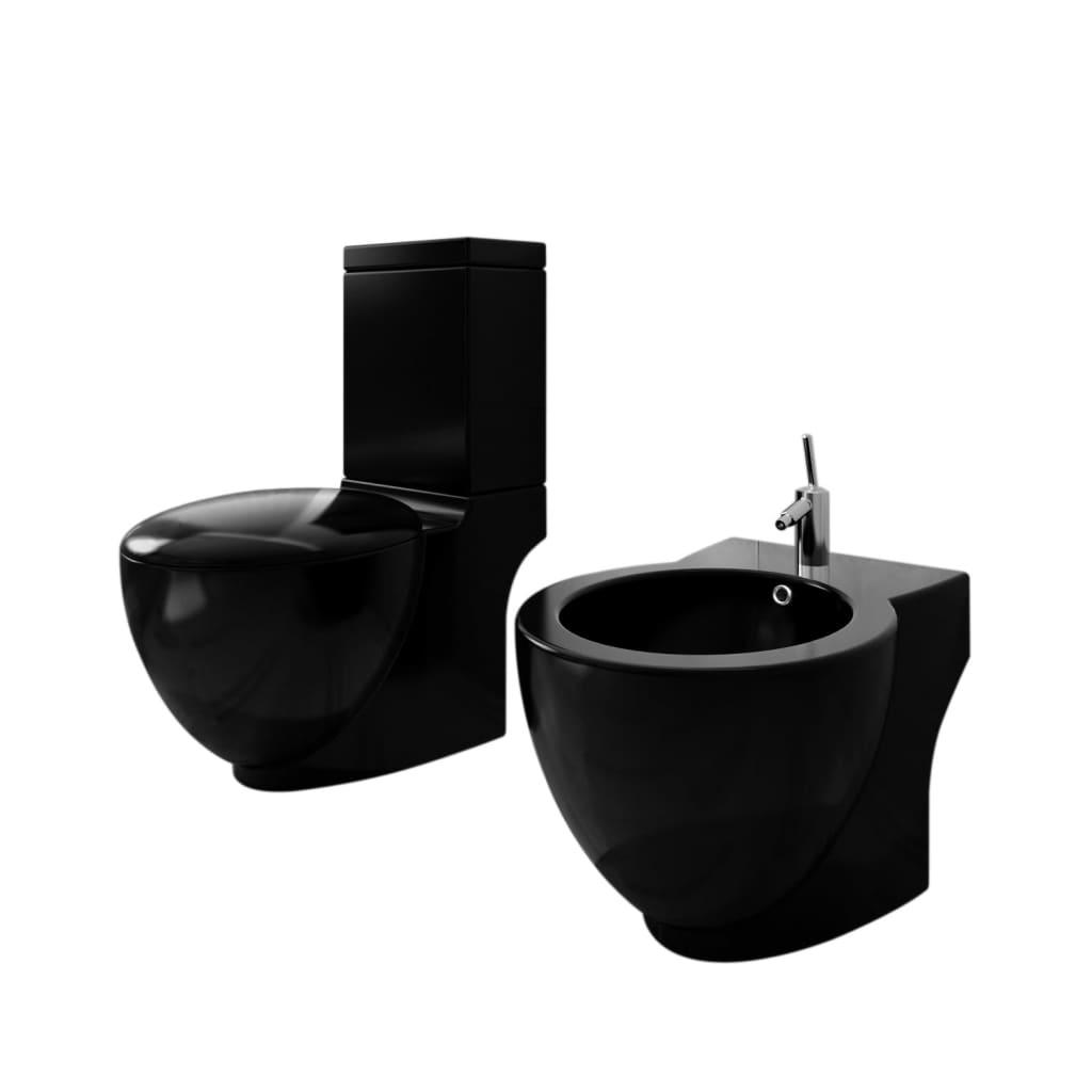 vidaXL Álló kerámia WC & bidé szett fekete