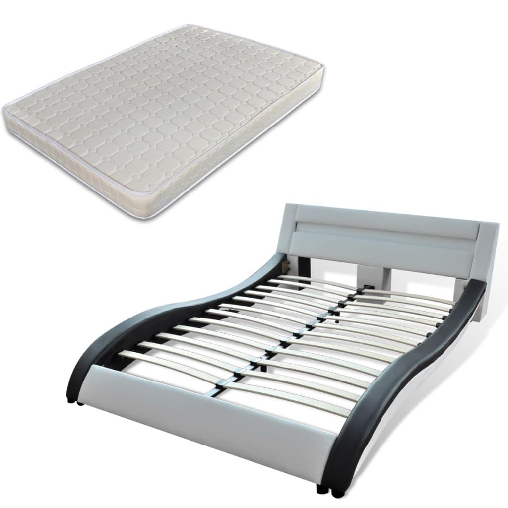 acheter lit en cuir 180 200 cm noir et blanc avec clairage led avec matelas pas cher. Black Bedroom Furniture Sets. Home Design Ideas