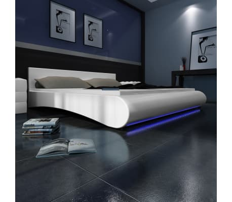 De bed bedden lederen bed imitatie lederen bed leder bed bed led bedden led online shop - Wit lederen bed ...