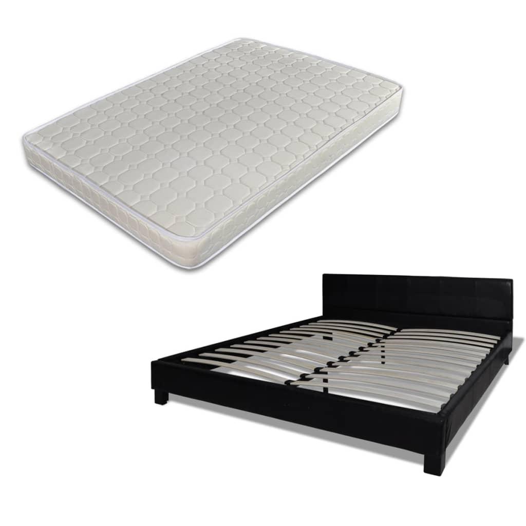 la boutique en ligne lit en cuir avec matelas 180 x 200 cm en noir. Black Bedroom Furniture Sets. Home Design Ideas