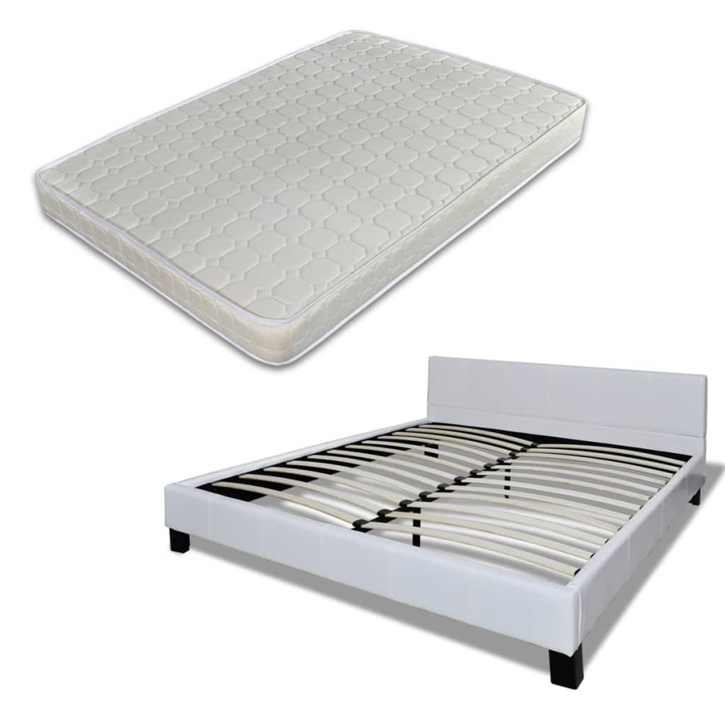 acheter lit en cuir avec matelas 180 x 200 cm en blanc pas cher. Black Bedroom Furniture Sets. Home Design Ideas