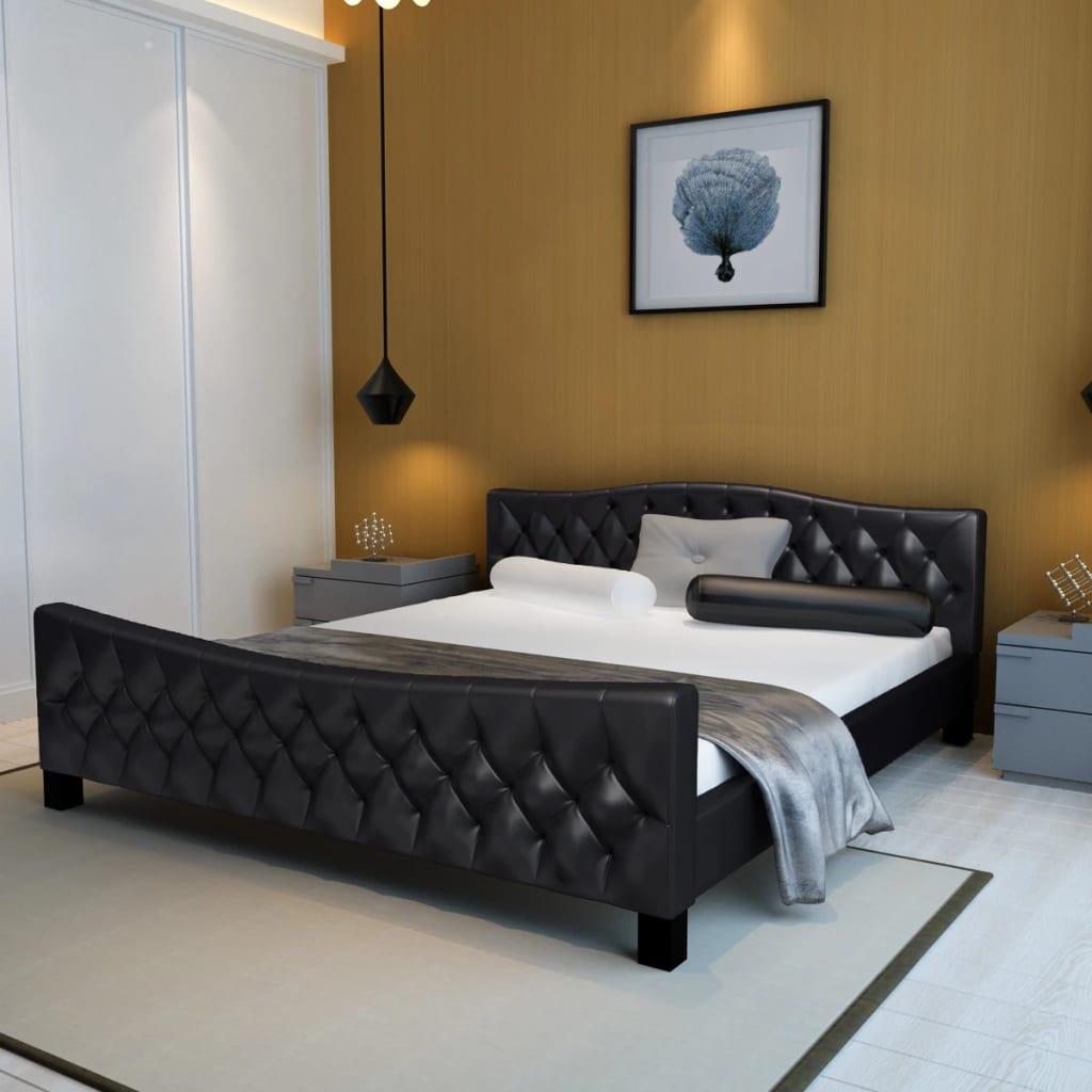 Cama doble de cuero negro artificial con colch n 180 x 200 - Camas de cuero ...