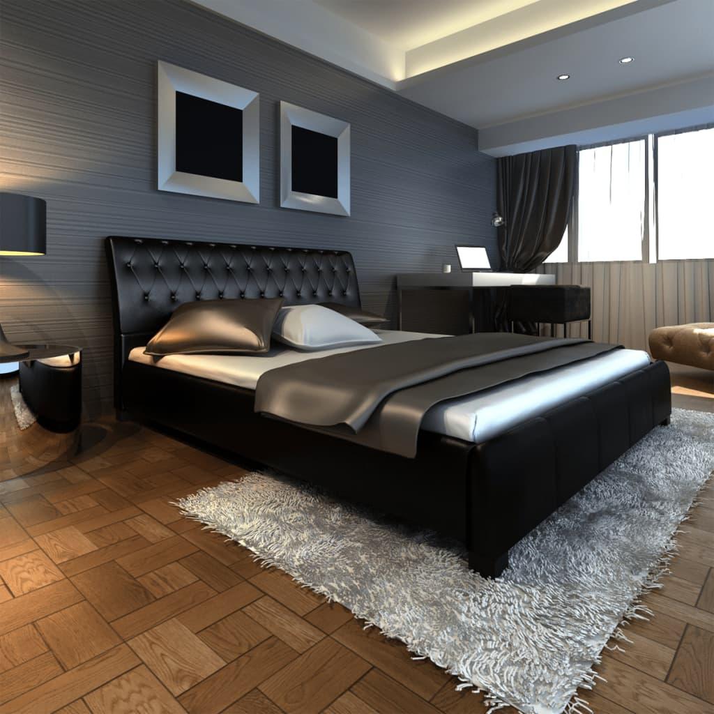 acheter lit en cuir de luxe avec matelas 180 x 200 cm noir. Black Bedroom Furniture Sets. Home Design Ideas