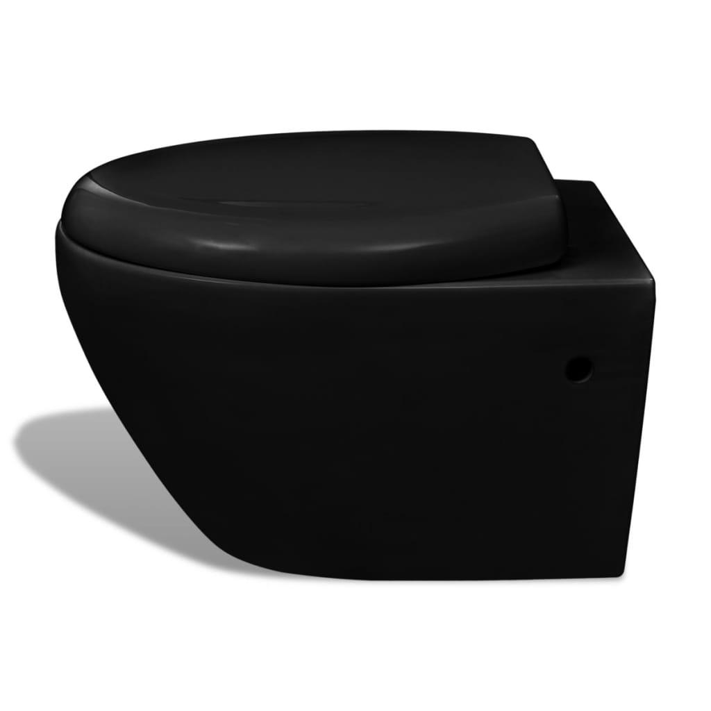 Vidaxl Co Uk Wall Hung Toilet Black Soft Close Mechanism