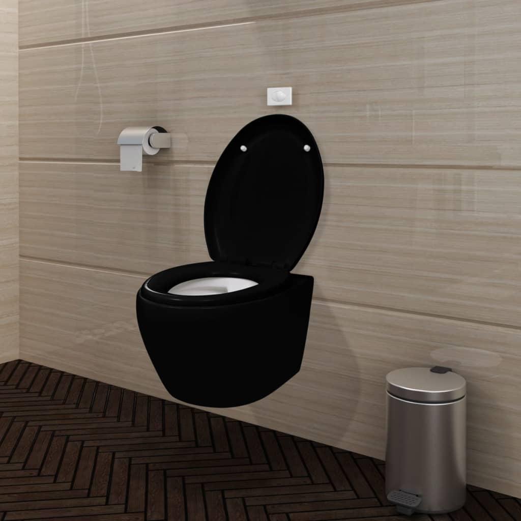 vidaXL Fekete Falra Akasztható WC Puha Záró Mechanízmussal És Tartállyal