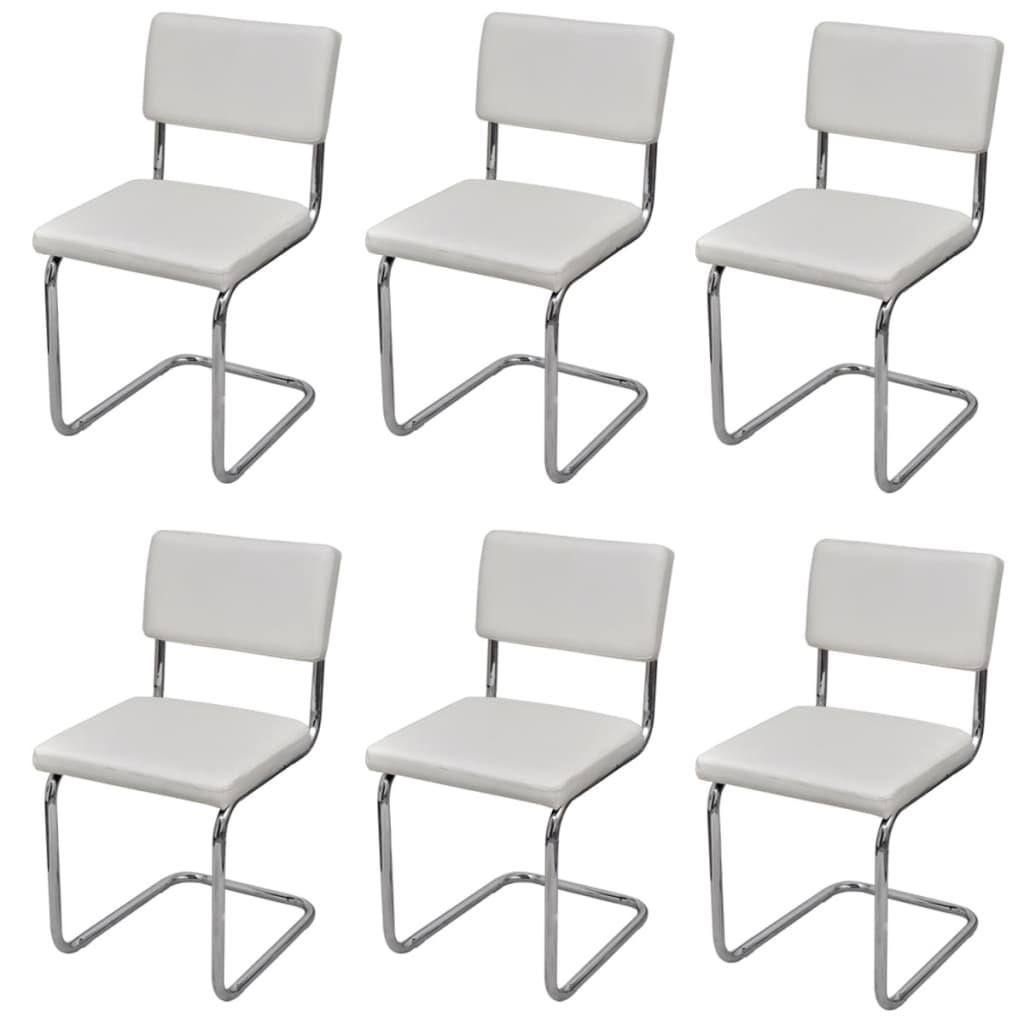 Set 6 pz sedie da pranzo bianche disegno moderno in cuoio for Set 6 sedie moderne