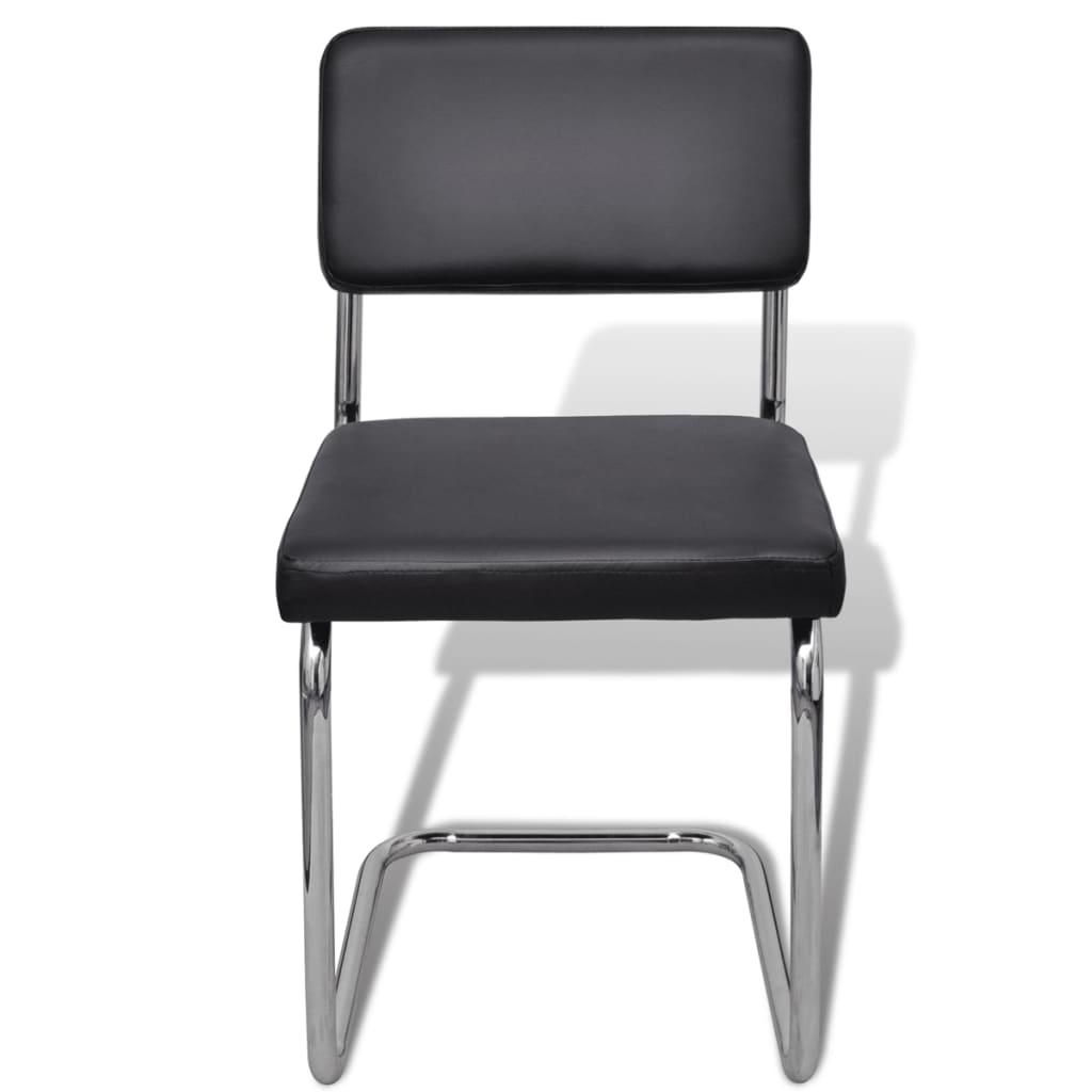 acheter set de 6 chaises de salon design et moderne en simili cuir noir pas cher. Black Bedroom Furniture Sets. Home Design Ideas