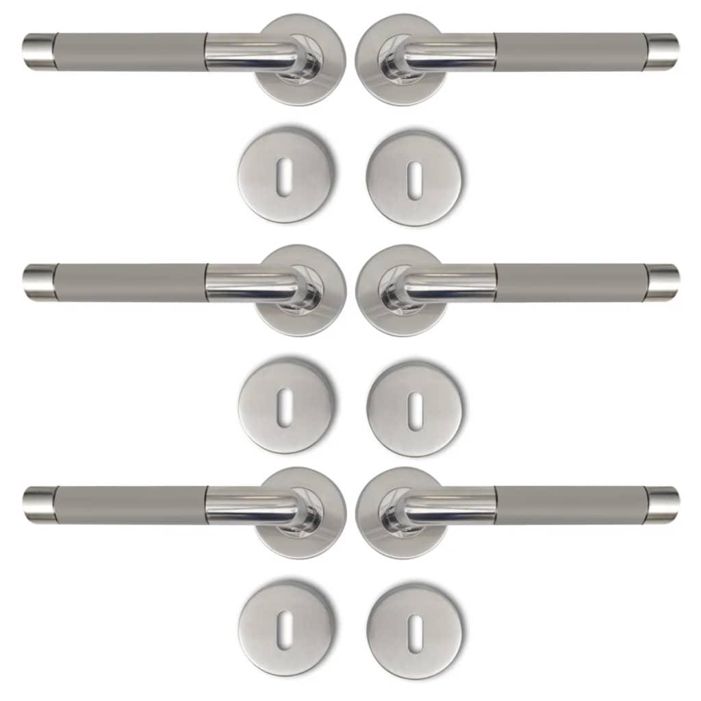 Afbeelding van vidaXL Deurklink RVS alternatief met sleutelrozet (3 sets)